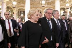 Rumunská premiérka Dancilaová a šéf Evropské komise Juncker