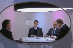 Europoslanec Luděk NIedermayer (TOP 09), politolog Lukáš Macek a místopředseda Evropského parlamentu Pavel Telička (nestr.)