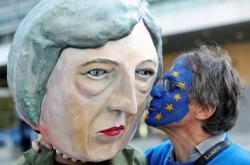 Protest proti brexitu v Bruselu
