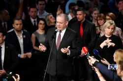 Slovenský prezident Andrej Kiska ve štábu vítězky voleb Zuzany Čaputové