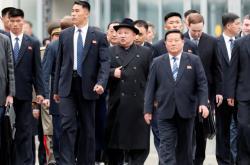Severokorejský vůdce Kim Čong-un na železniční stanici v ruském Vladivostoku