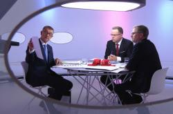 Otázky Václava Moravce: Andrej Babiš (ANO), Petr Fiala (ODS)