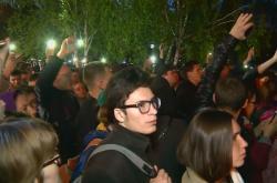 Protest proti stavbě chrámu v Jekatěrinburgu
