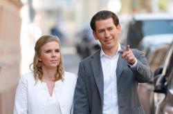 Sebastian Kurz s přítelkyní během voleb