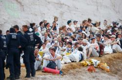 Demonstranti blokovali uhelný důl v Německu