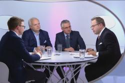 Diskuse náměstka ministra zahraničí Aleše Chmelaře a europoslanců Jana Zahradila a Pavla Svobody v OVM