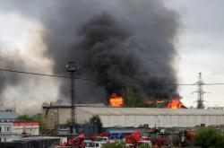Požár plynové elektrárny u Moskvy