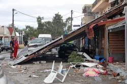 Následky bouře na Chalkidiki