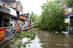 Následky tajfunu Lekima ve městě Wenling