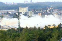 Odstřel tramvajové vozovny v Hloubětíně