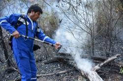 Bolivijský prezident Evo Morales při hašení pralesa
