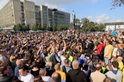 Demonstranti na Puškinově náměstí v Moskvě