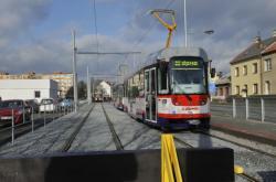 Provizorní ukončení tramvajové tratě v ulici Trnkova v Olomouci