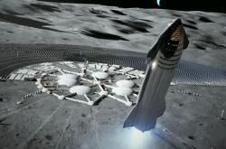 Vizualizace Starship na Měsíci