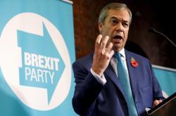 Nigel Farage během zahájení předvolební kampaně