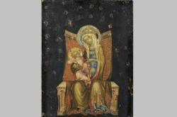 Středověký obraz nazvaný Trůnící Panna Marie s dítětem z dílny Mistra vyšebrodského oltáře