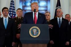 Donald Trump během prohlášení v Bílém domě