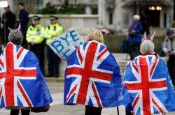 Zastánci brexitu před britským parlamentem