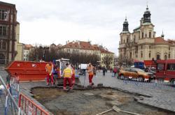 Staroměstské náměstí po zahájení prací
