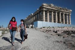 Návštěvníci aténské Akropole