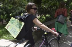 Protest kritiků návrhu územního plánu před brněnským výstavištěm
