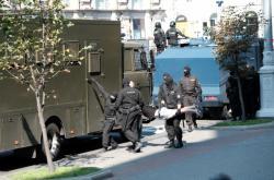 Zatýkání na demonstraci v Minsku 30. srpna