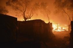 Hořící tábor Moria na Lesbosu