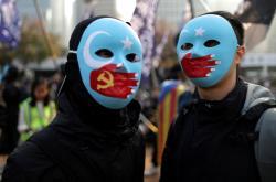 Demonstrace na podporu Ujgurů v prosinci 2019 v Hongkongu