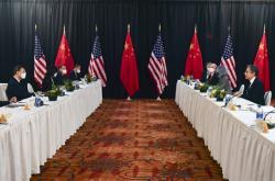 Ministr zahraničí Antony Blinken a čínský politik Jang Ťie-čch' při jednání