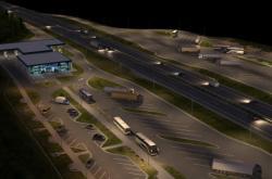 Vizualizace odstavného parkoviště u Chotýčan (noční)