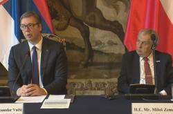 Prezident Miloš Zeman přivítal srbského prezidenta Alexandra Vučiče v Česku