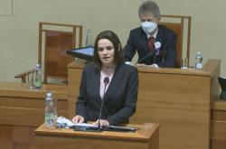 Projev představitelky běloruské opozice Svjatlany Cichanouské v Senátu
