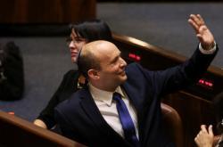 Naftali Bennett během proslovu v Knesetu