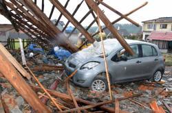 Následky bouře v obci Stebno