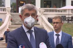 Premiér Andrej Babiš na tiskové konferenci po návštěvě Zlínského kraje