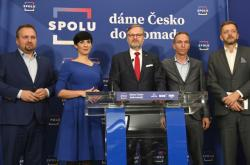 Marian Jurečka, Markéta Pekarová Adamová, Petr Fiala, Ivan Bartoš a Vít Rakušan