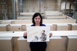 Soudní malířka s obrazem Salaha Abdeslama