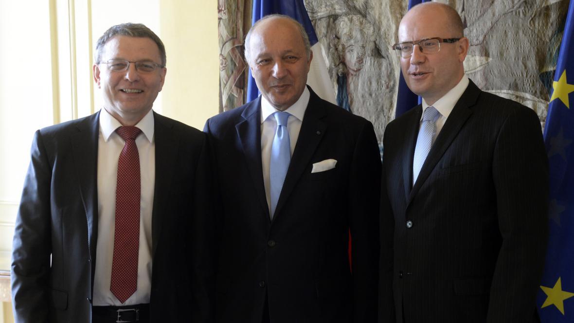 Lubomír Zaorálek, Laurent Fabius a Bohuslav Sobotka