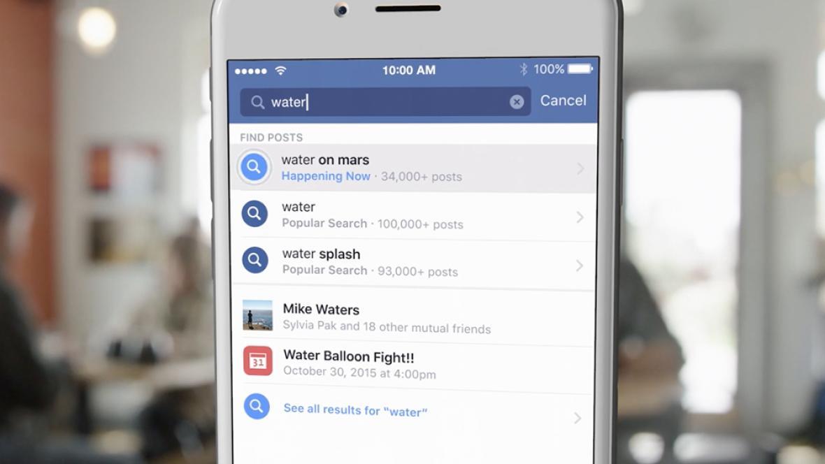 Nová aplikace FB na vyhledávání
