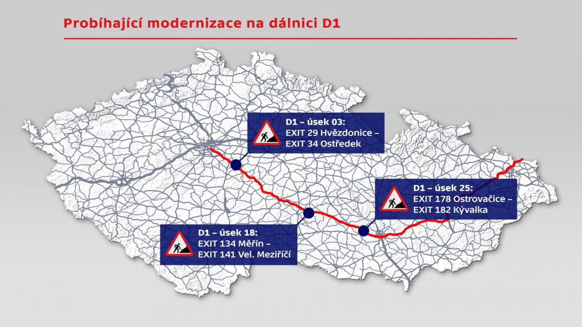 Probíhající modernizace na dálnici D1