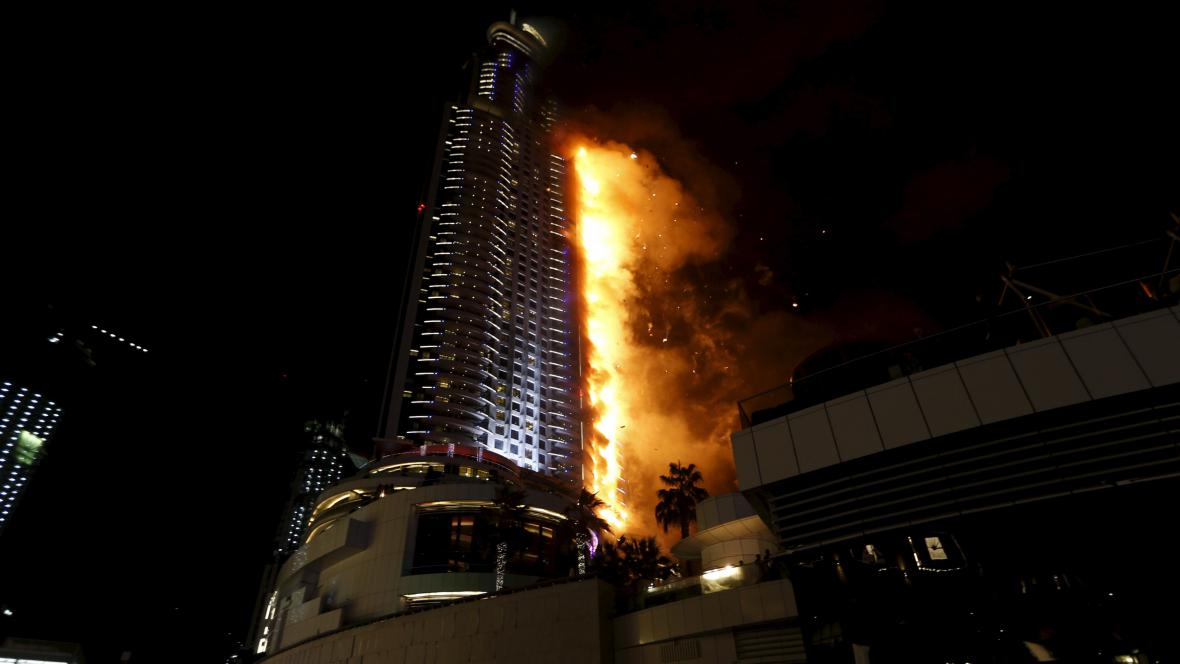 Požár hotelu v Dubaji