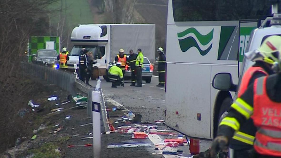 Nehoda na dálnici D46 mezi Prostějovem a Olomoucí