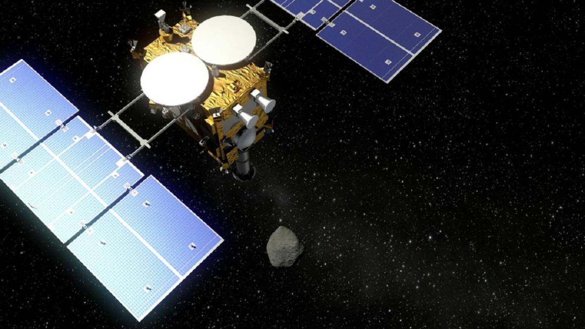 Vizualizace: Hayabusa 2 a asteroid