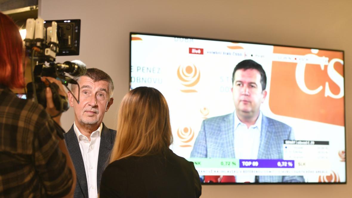 Andrej Babiš sledoval ve volebním štábu ANO výsledky voleb