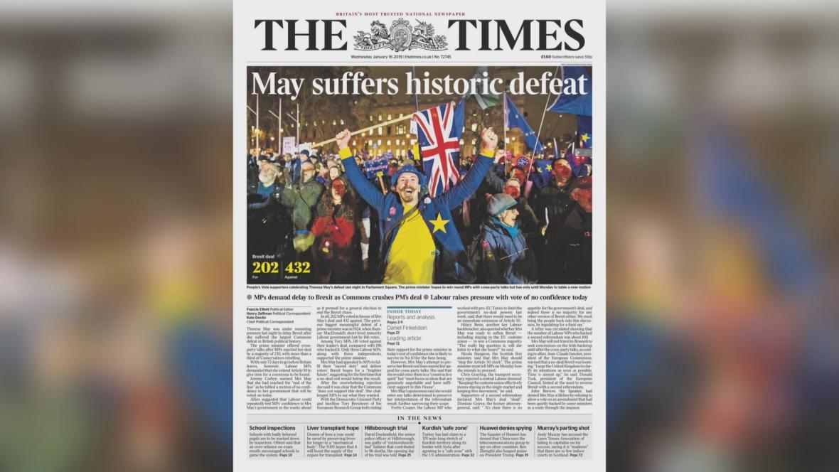 The Times: Mayová utrpěla historickou porážku