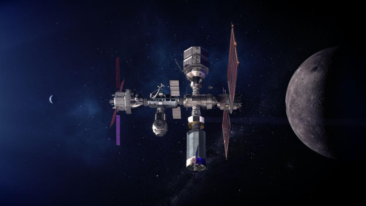 Vizualizace stanice Gateway na oběžné dráze Měsíce