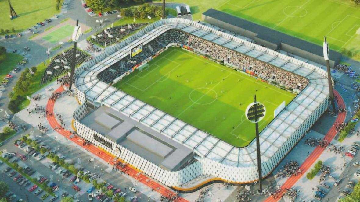 Vizualizace nového královéhradeckého stadionu