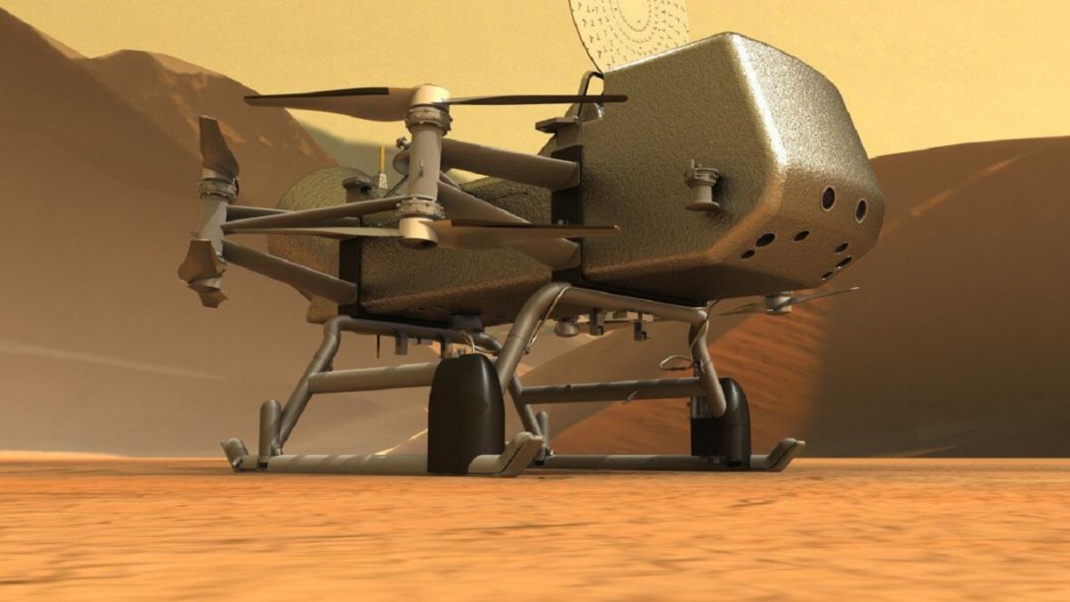 Vizualizace sondy Dragonfly na Titanu
