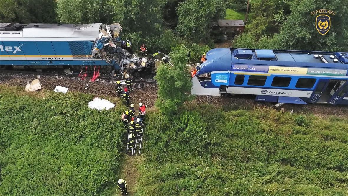 Srpnová srážka vlaků na trati u Milavčí