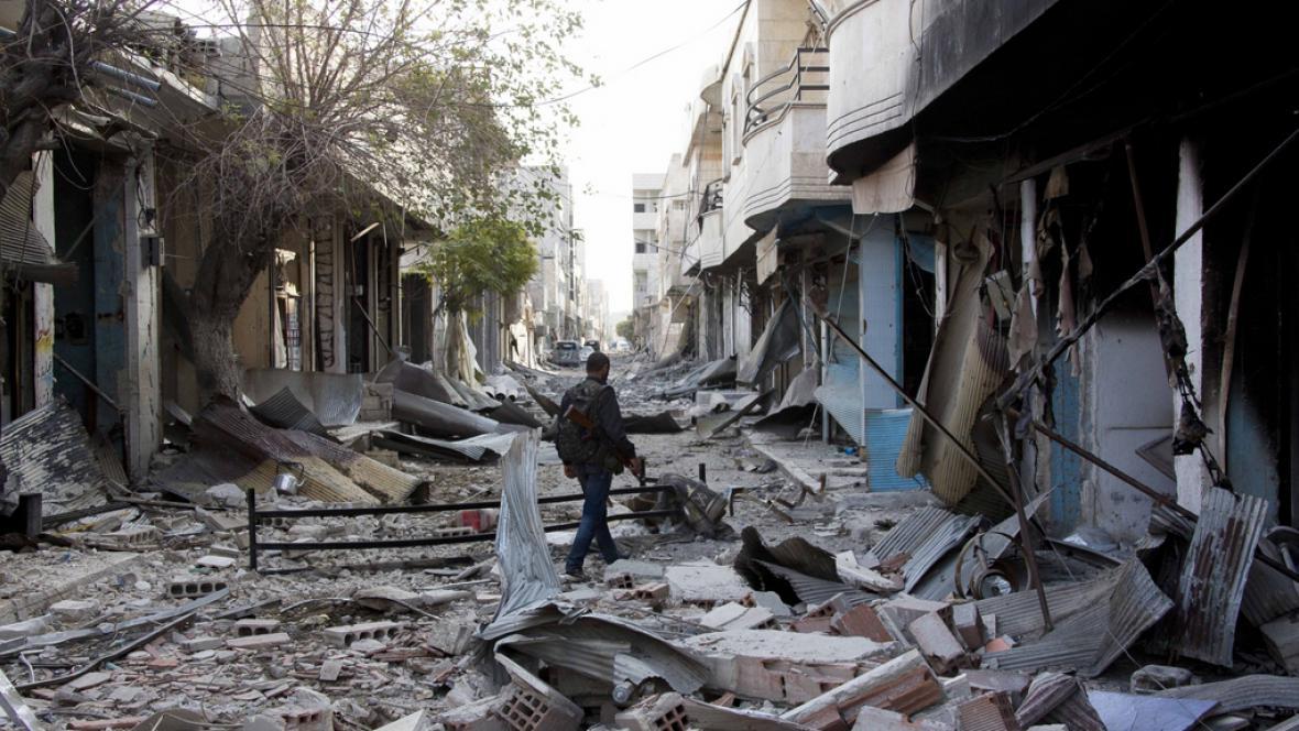 Rozbořené ulice Kobani
